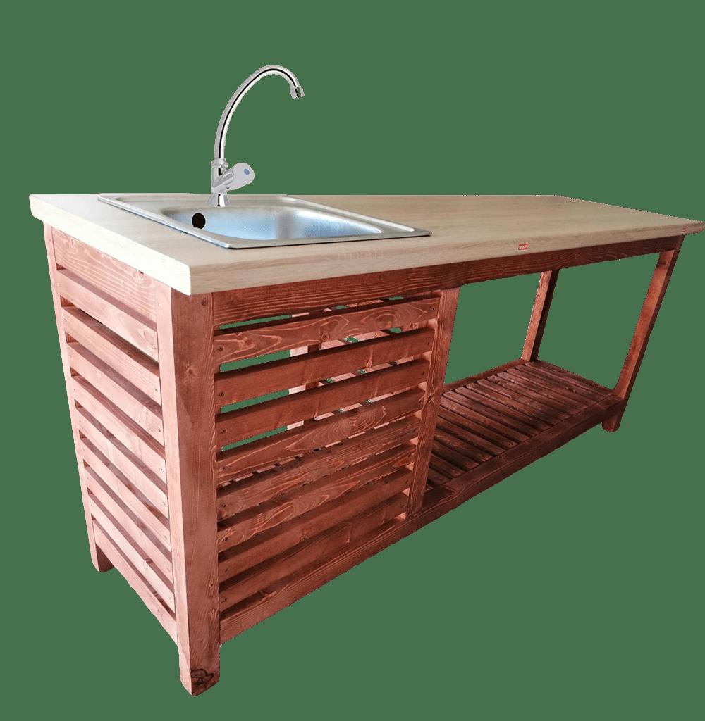 Mobil kerti konyha hidegvizes lengőszeleppel